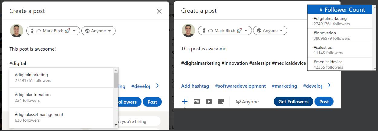 LinkedIn Hashtags Chrome Extension