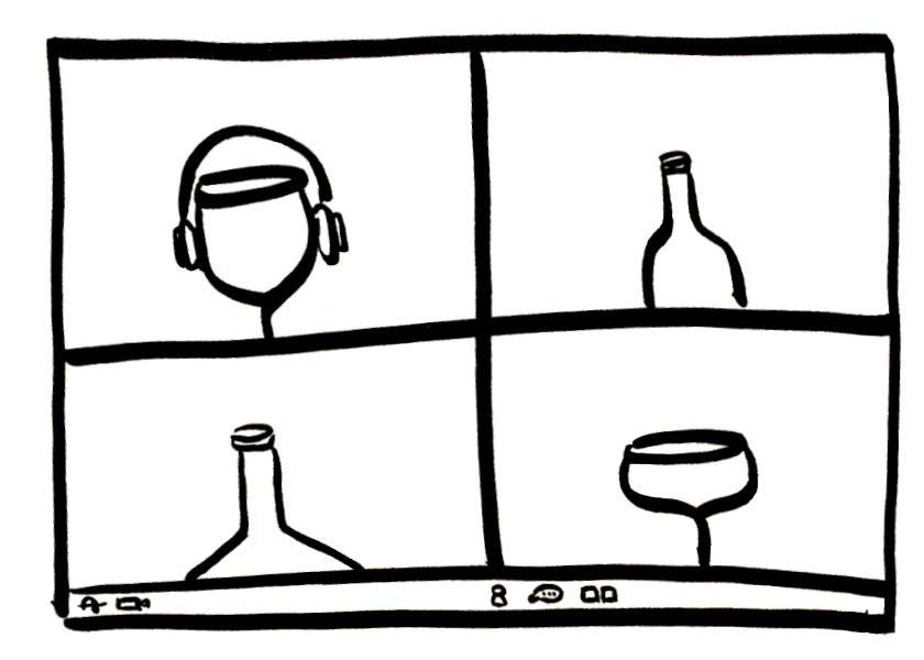 A sketch of a Zoom video conference where the participants are anthropomorphic wine bottles and glasses