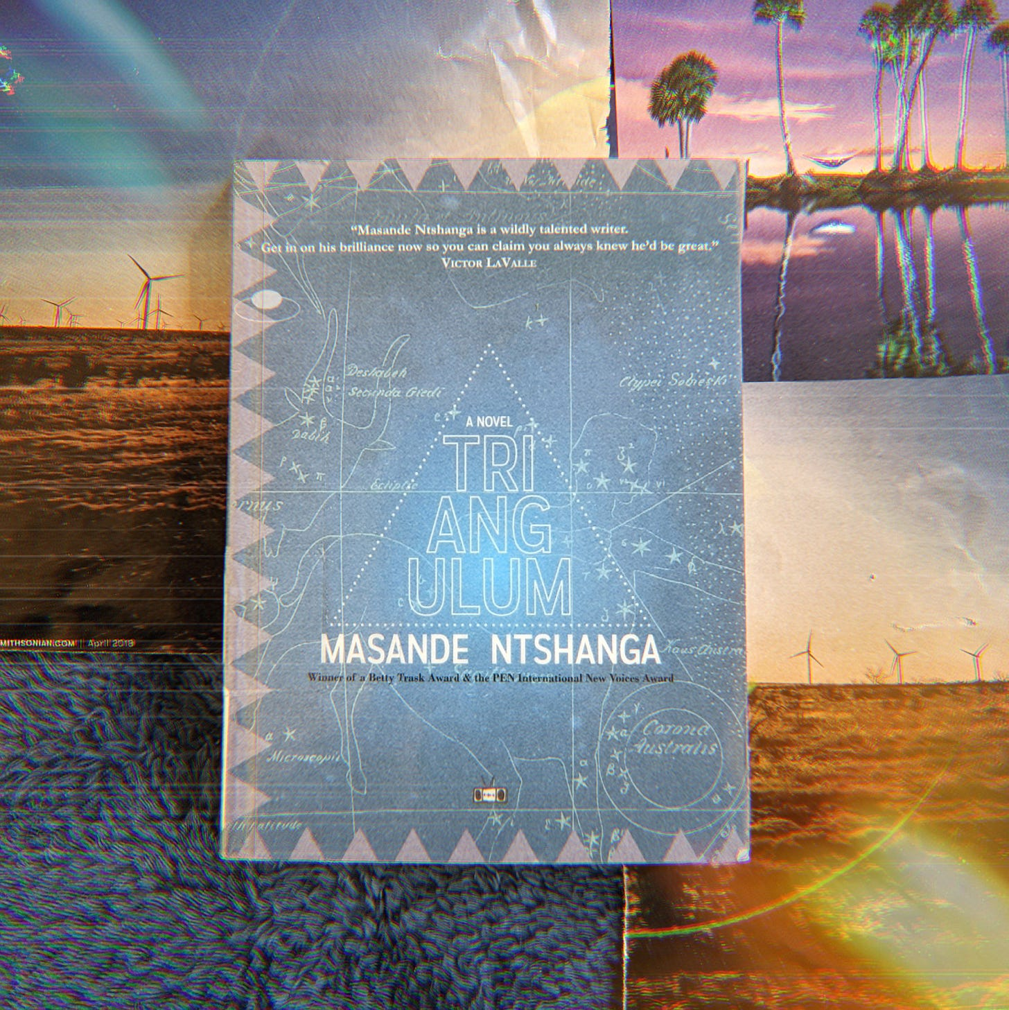 Blue book on top of magazine cutouts of landscapes. The book is Triangulum by Masande Ntshanga.