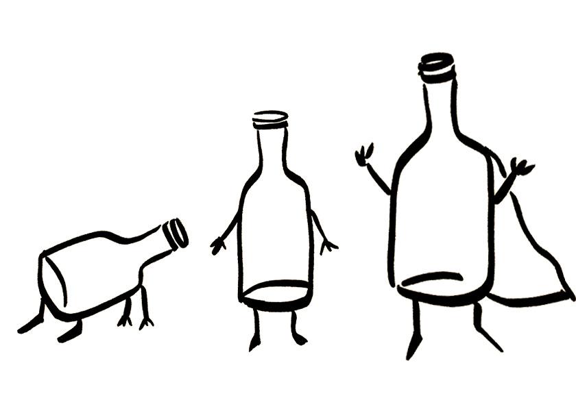 Anthropomorphic wine bottles crawling, walking, and flying