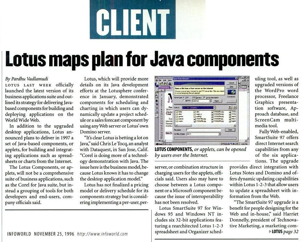 Lotus maps plans for Java components