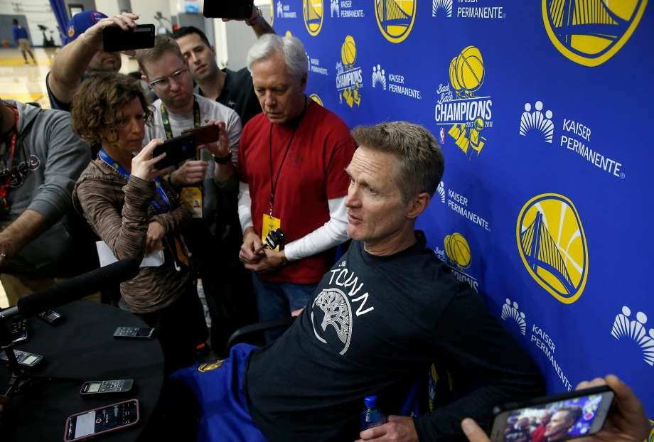 Image result for steve kerr in a press scrum