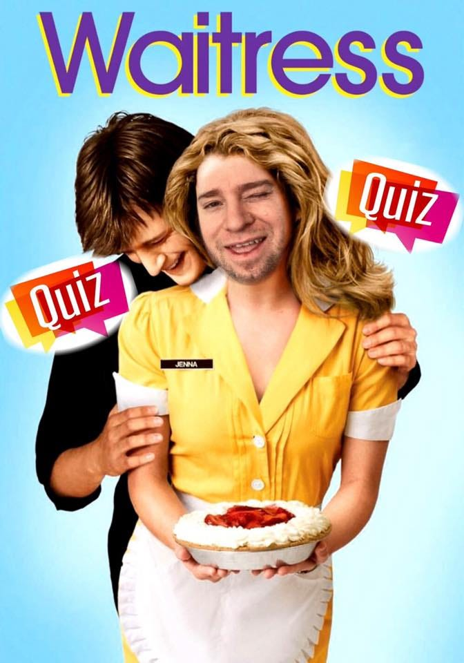 May be an image of 1 person, pizza and text that says 'Waitress Quiz Quiz JENNA'