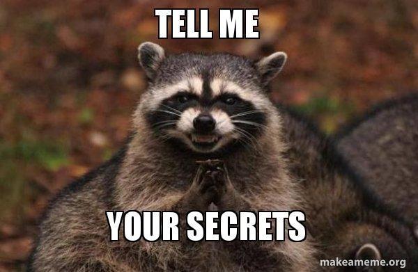 TELL ME YOUR SECRETS - Evil Plotting Raccoon | Make a Meme