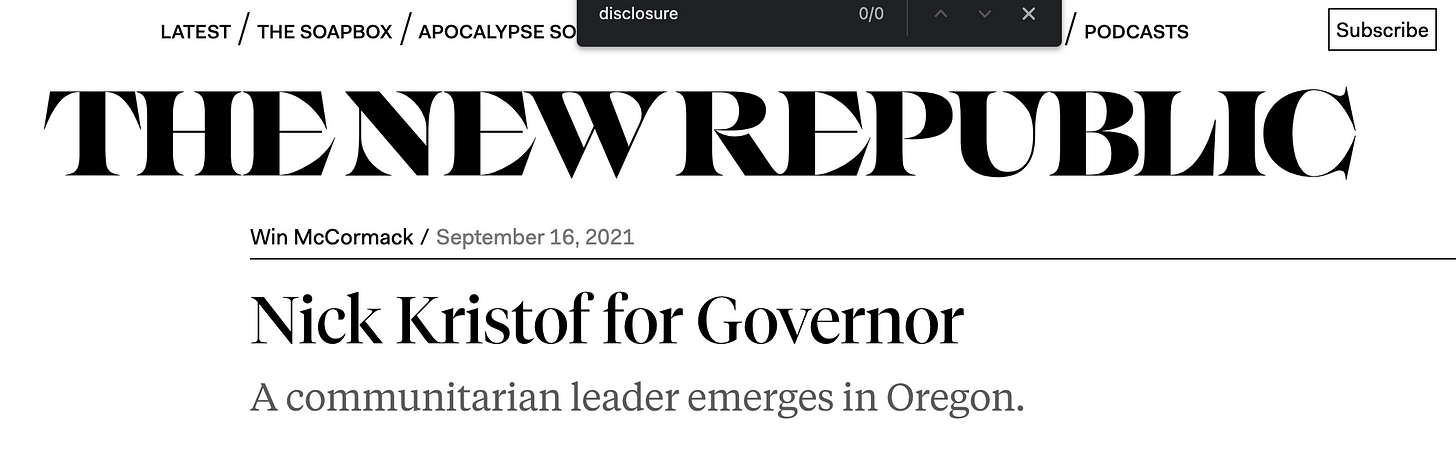 """A screenshot of the New Republic article with a page search for """"disclosure"""" showing zero results."""
