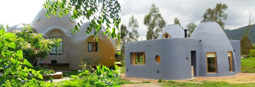 two earth houses in the sun