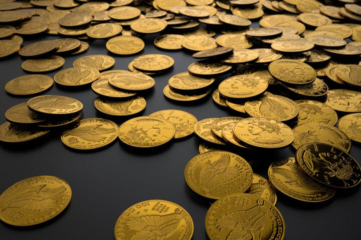 Many gold coins dropped randomly on dark background showing wealth,  treasure, or income free image download