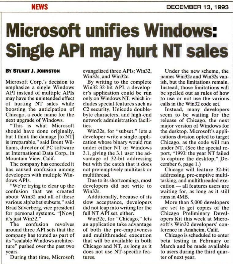 Microsoft unifies Windows: Single API may hurt NT sales