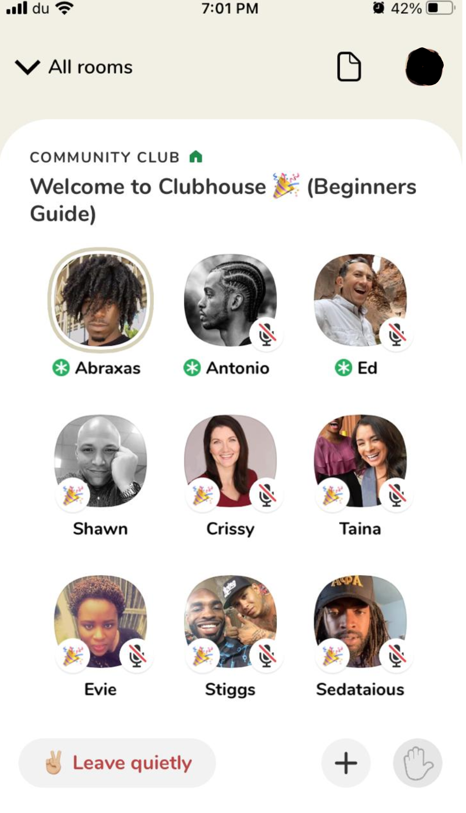 Club for beginners on Clubhouse