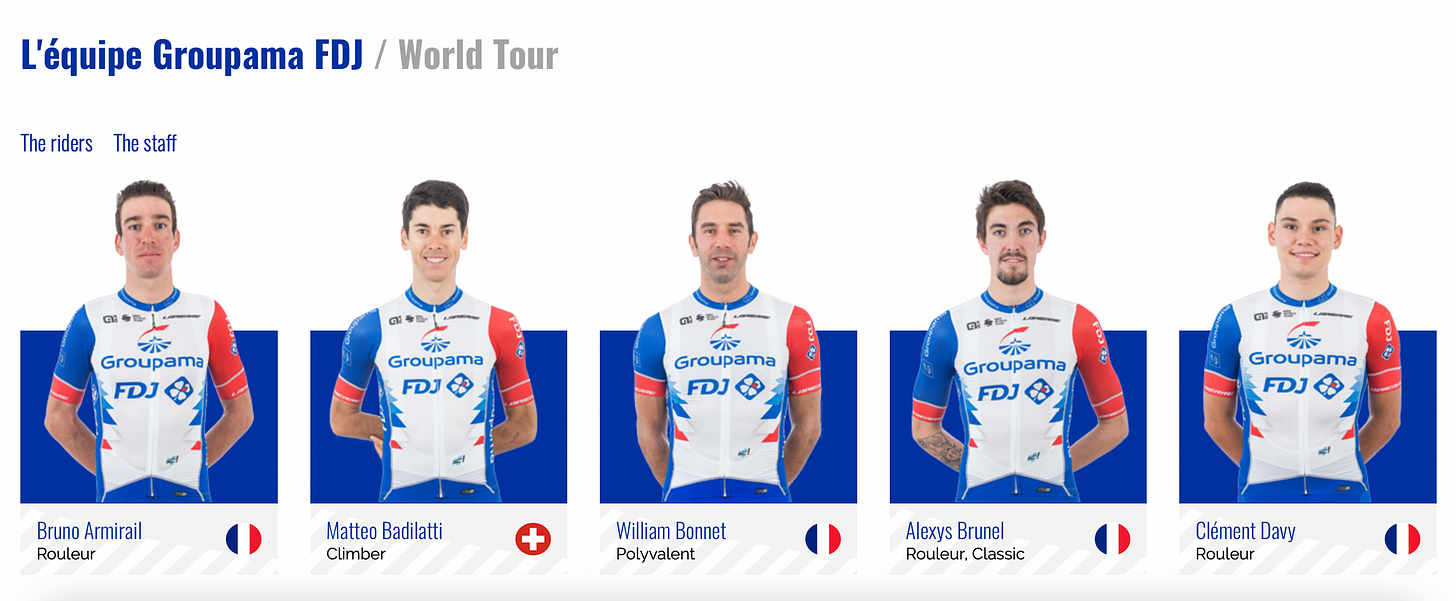 Cyclists from l'équipe Groupama, 2021