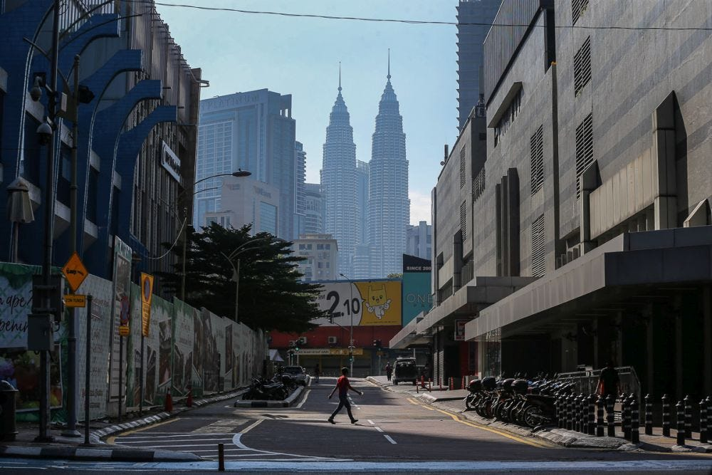A general view of Kuala Lumpur as the 14-day 'total lockdown' commenced June 1, 2021. — Picture by Yusof Mat Isa