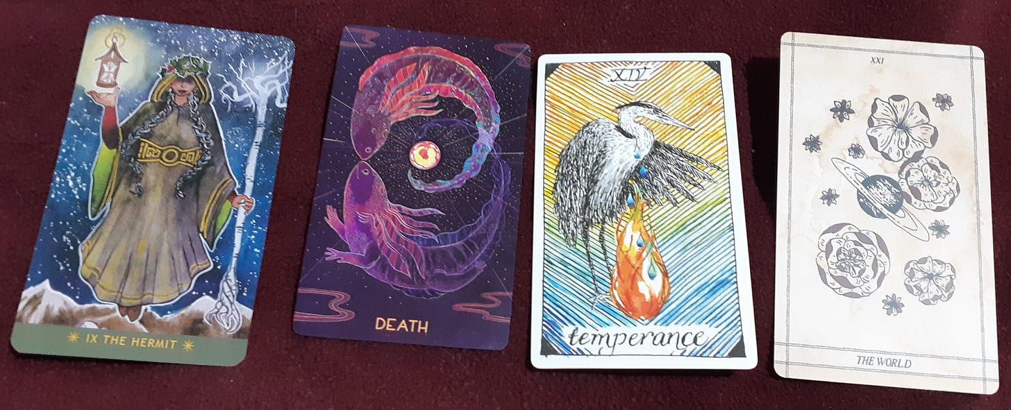 four tarot cards discussed below