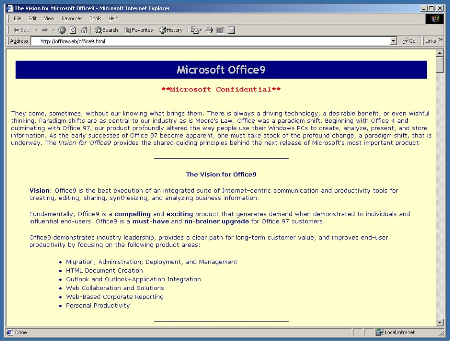 Office9 vision displaying in a vintage browser.