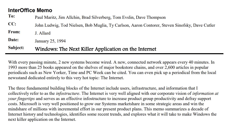"InerOffice memo from J. Allard describing ""Windows: The Next Killer Application on the Internet"