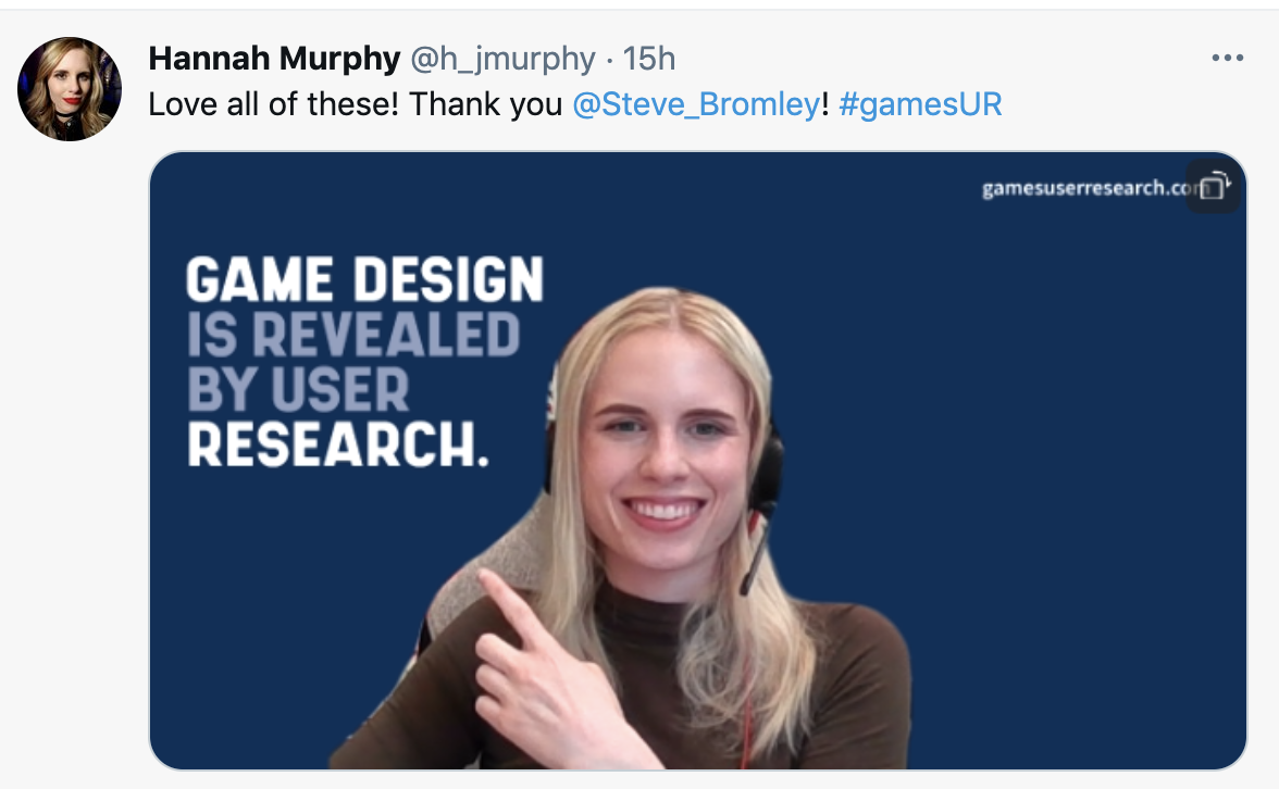Hannah Murphy's Tweet- Game Design Is Revealed By User Research