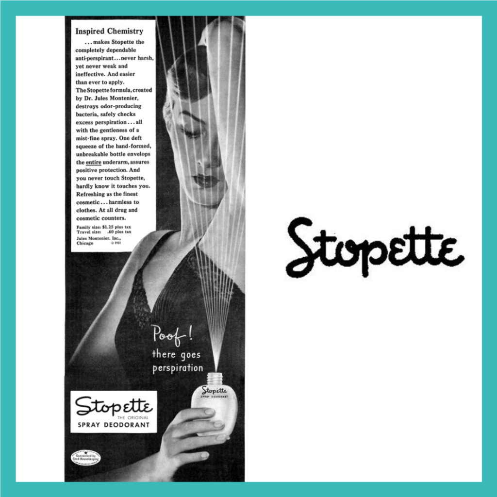 An ad and the logo for Stopette deoderant