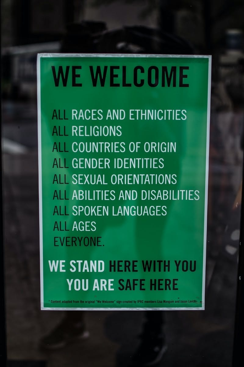 Welcome sign saying everyone is welcome