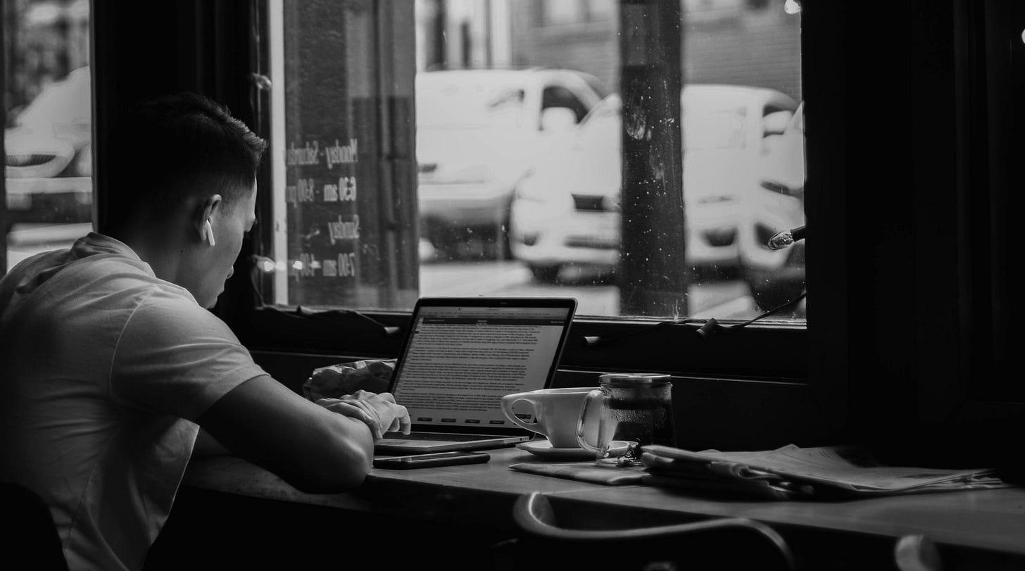 Man engrossed in his work