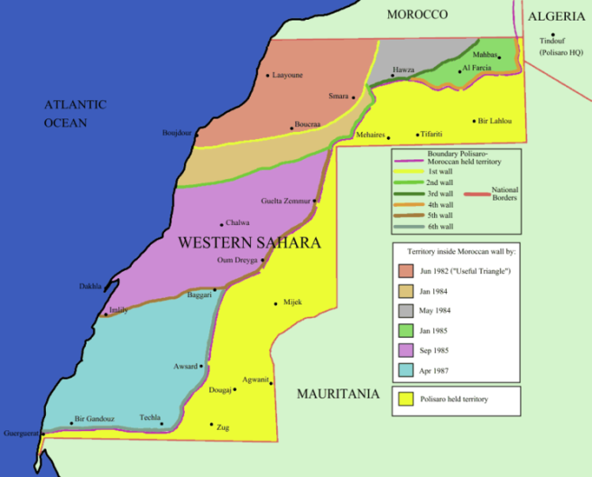 Map of Morocco's Western Sahara Wall