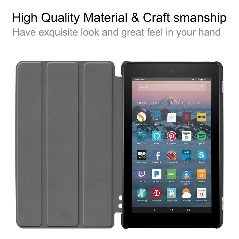 Case for All-New Amazon Fire 7 9th Gen 2019,Fire 2017 Release,Shell Trifold Stand Protect Cover with Auto Wake/Sleep Function