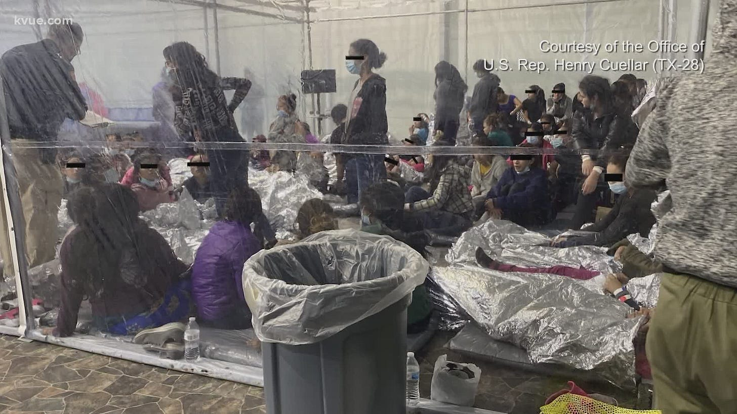 Photos show crowds of children in Texas border overflow facility amid calls  for press access | wfaa.com