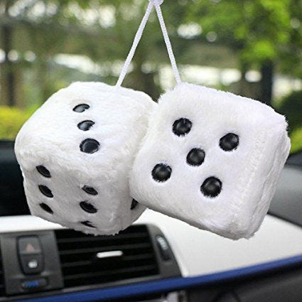 ONEWELL Colorful Plush Dice Craps JDM Rear View Mirror Car Pendant Charms Ornaments Hanging Suspension Car Styling Dest vl