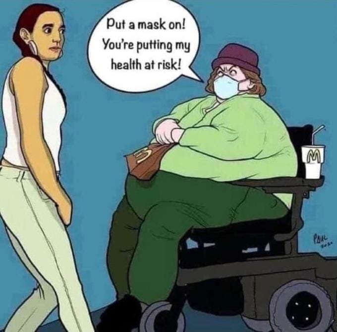Put a mask on! You're putting my health at risk! M PAUL Cartoon Fictional character