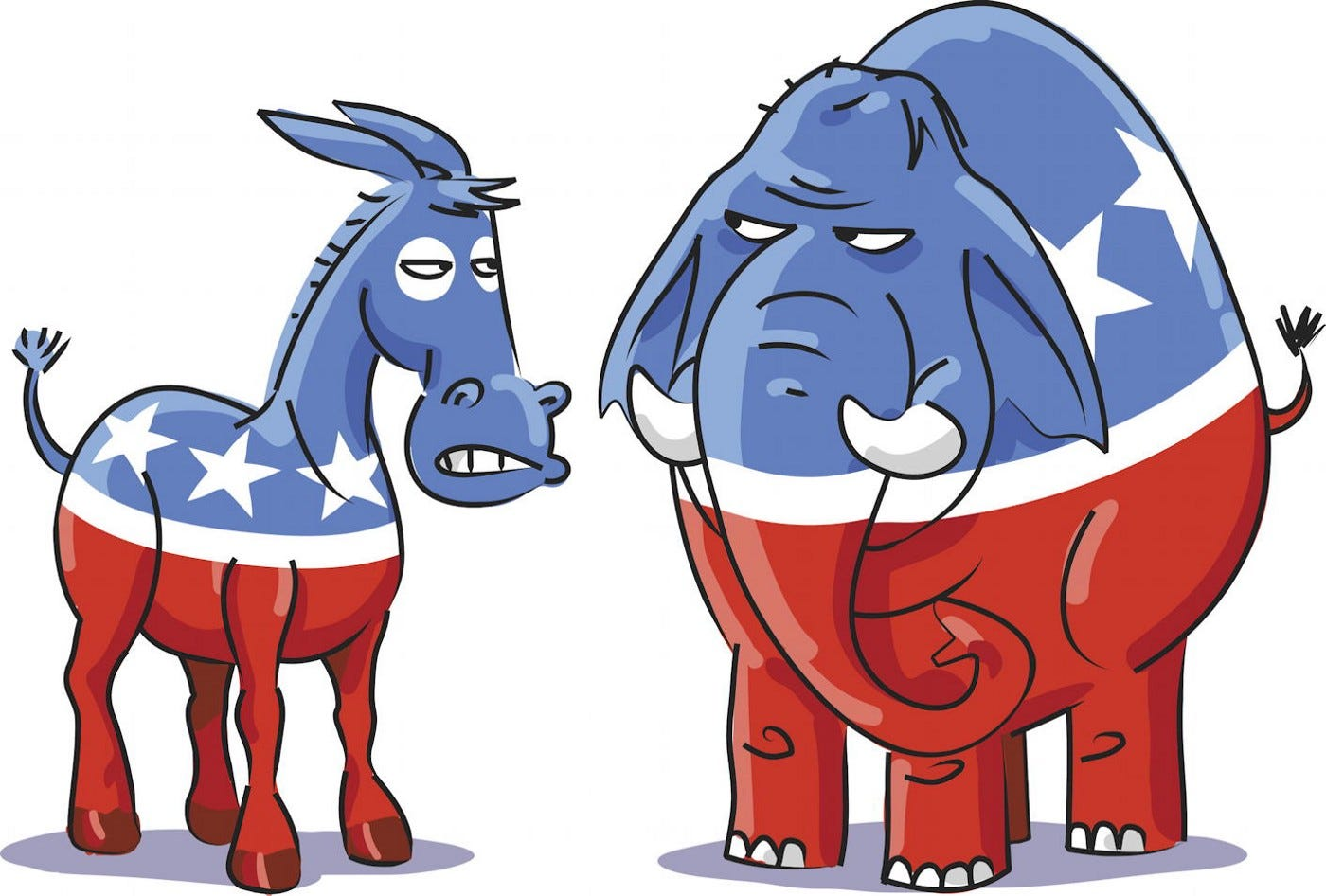 an angry Democratic donkey and Republican elephant looking at each other