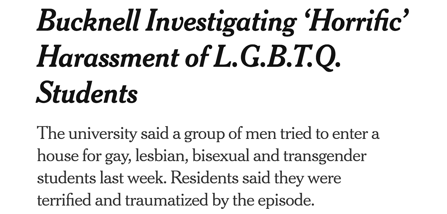 A clip of a New York Times headline: Bucknell Investigating 'Horrific' Harassment of LGBTQ Students...residents say they were terrified and traumatized by the episode