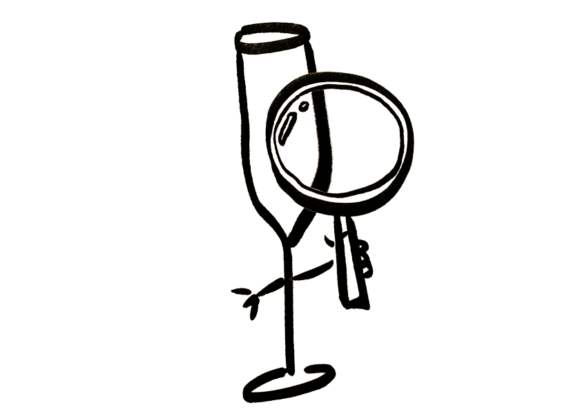 An anthropomorphic Champagne flute holding a magnifying glass