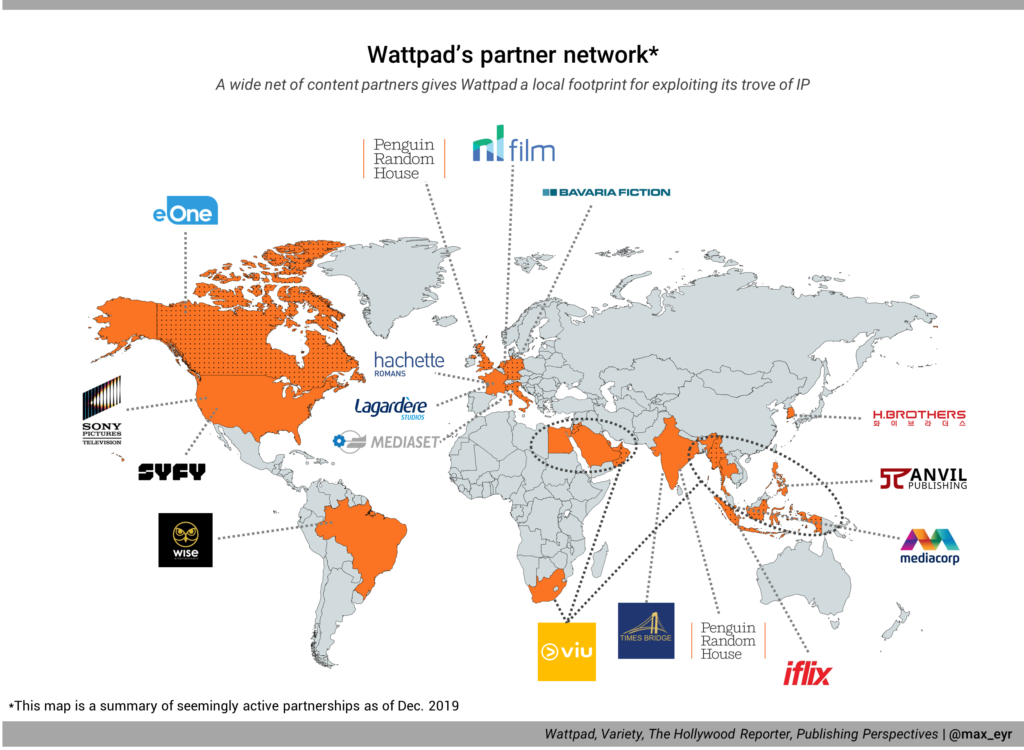 A map showing Wattpad's active content partnerships all around the world