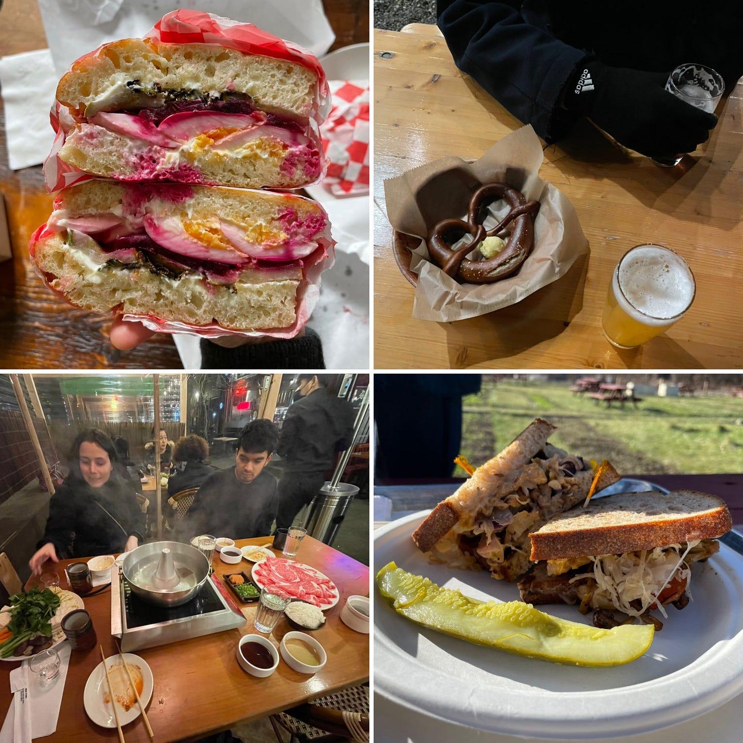 Sandwiches, sourdough pretzels, and shabu-shabu
