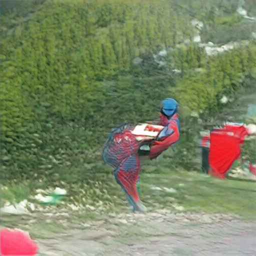 Lush green in the background, and a red and blue bipedal figure in the foreground. Body shape and legs more closely resemble an emu than anything else. Maybe that's a rectangle of pizza on its back?