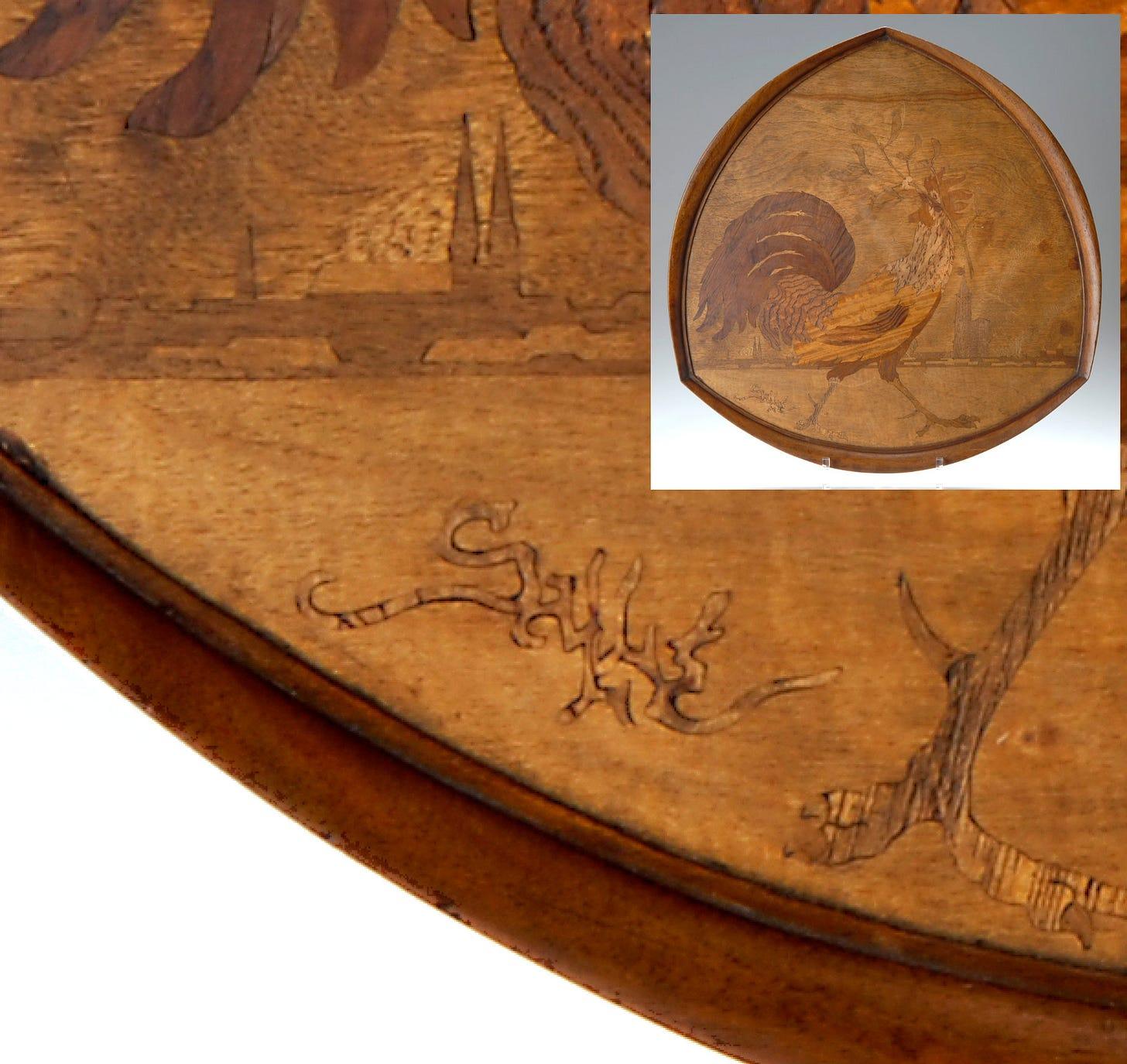 Auguste Herbst (attributed to), A cockerel before Strasbourg, wooden tray, ca. 1919, with a Mk VIII variant prototype (©Von Zezschwitz Kunst und Design Auctions Munich 2016).