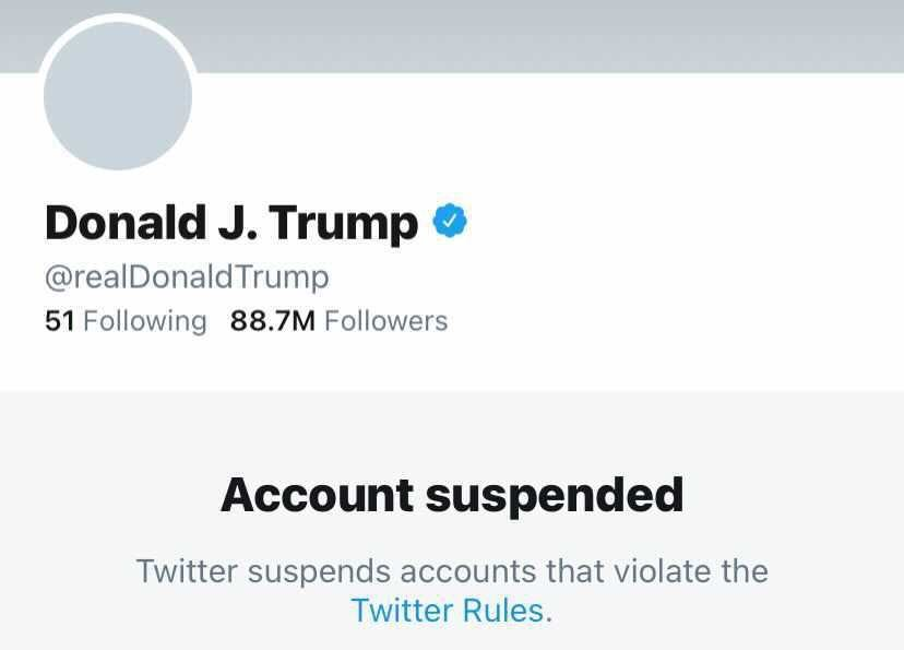 Image result for twitter suspended donal trump  account
