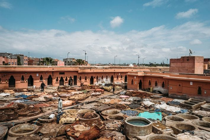 The number of vats available and workers employed in the medina's biggest tannery allow for a ...