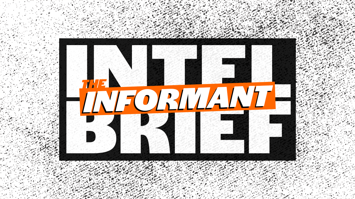 """The Informant logo in orange atop the words """"INTEL BRIEF"""" in black and white."""
