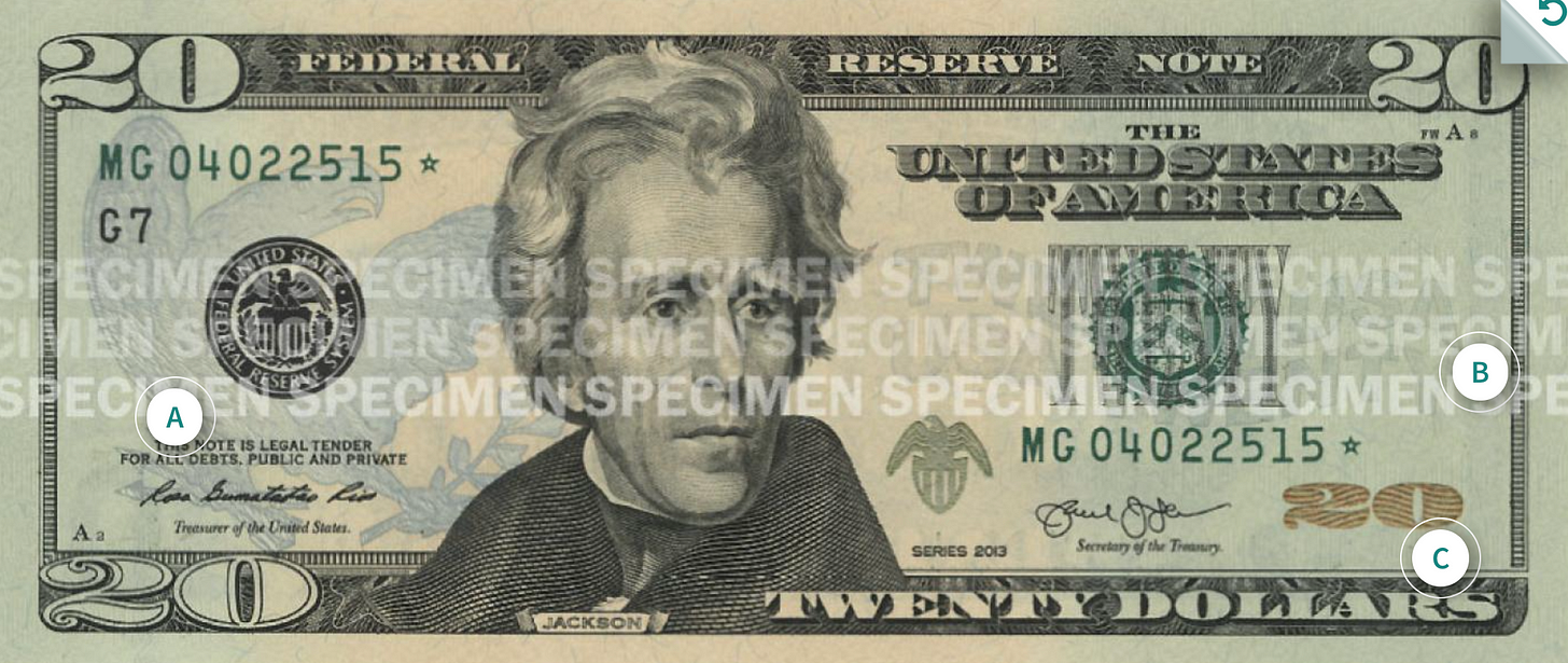 An image of a US $20 banknote.