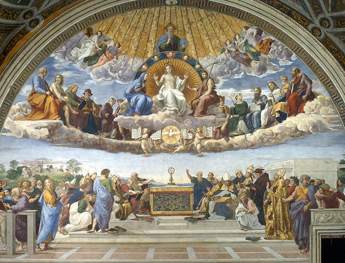 """Raphael, """"La Disputa del Sacramento,"""" 1510"""