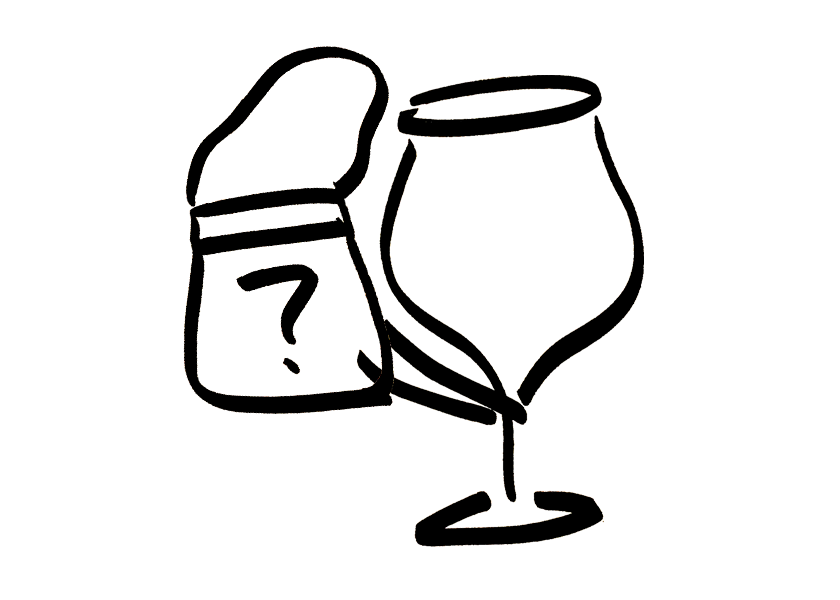 An anthropomorphic wine glass holding a wine and spirit tote bag