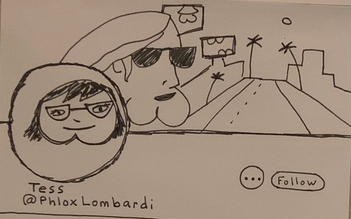 Slightly less terrible doodle of a Twitter page with butt avatar and a nearly-recognizable Tom Petty with a butt for a chin in the header