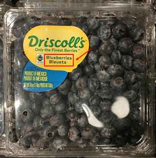 carton of blueberries, labeled in both english and french