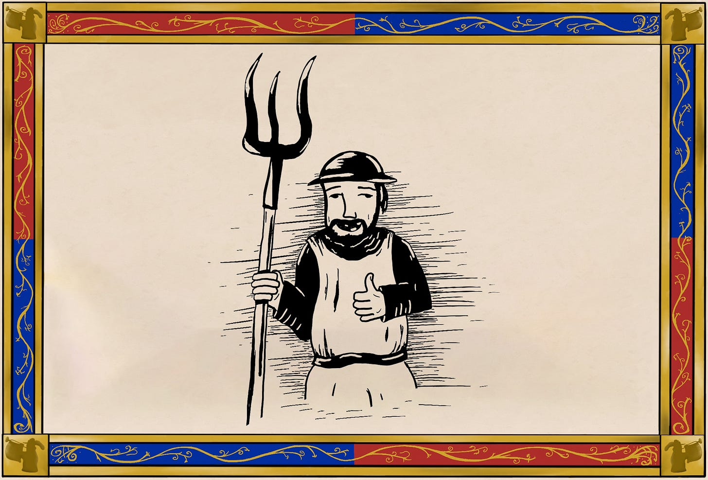 medieval soldier with pitchfork giving thumbs up
