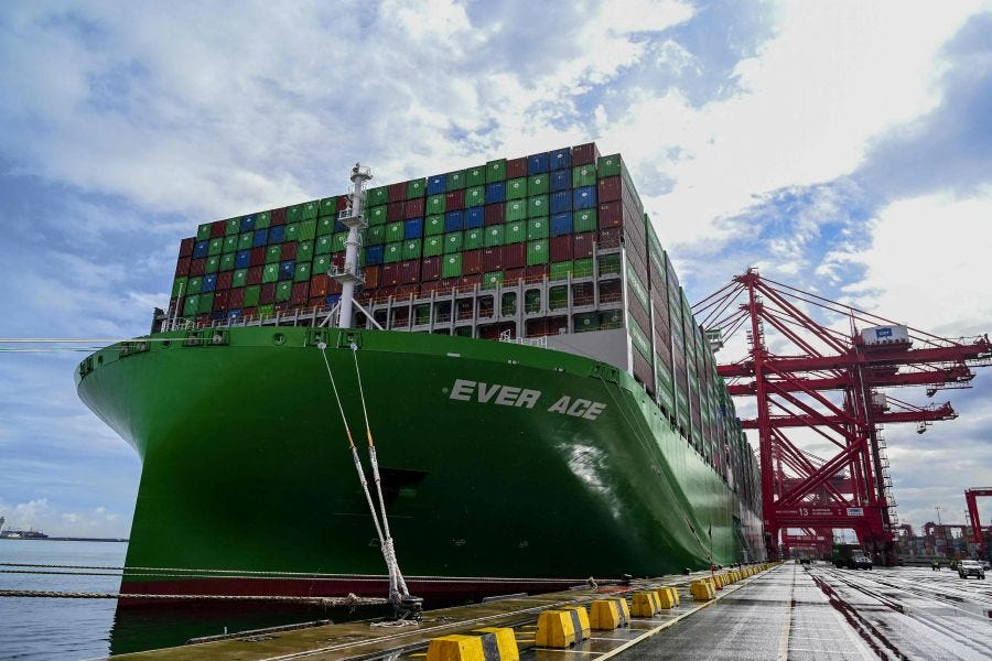 Port of Tanjung Pelepas (PTP) became the first port in Southeast Asia to welcome Evergreen Marine Corporation's latest, and the world's largest, container ship Ever Ace as part of the vessel's maiden voyage in the region. - AFP pic