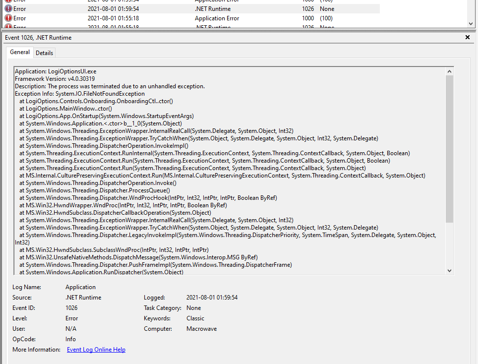 A screenshot of a LogiOptionsUI.exe crash in Event Viewer with a whole lot of text for the exception info