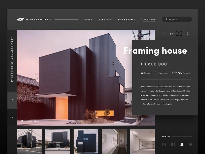 Modern Real Estate Site estate real sleek web design ux ui modern website
