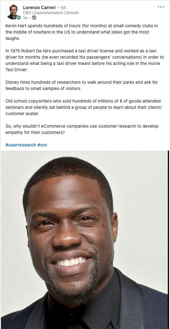 LinkedIn Post featuring Kevin Hart