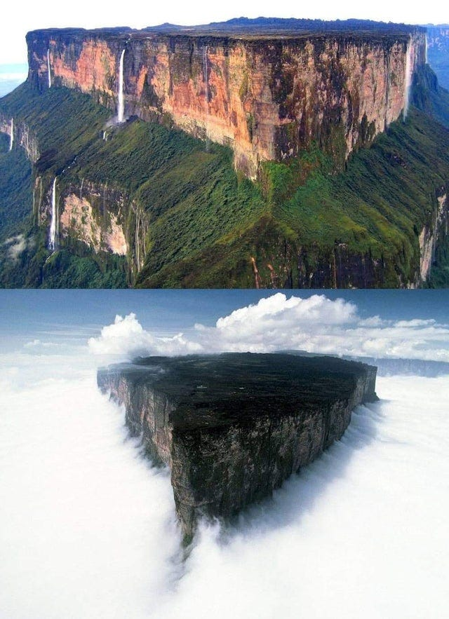 r/interestingasfuck - Roraima mount- Venezuela- Guyana-Brazil-