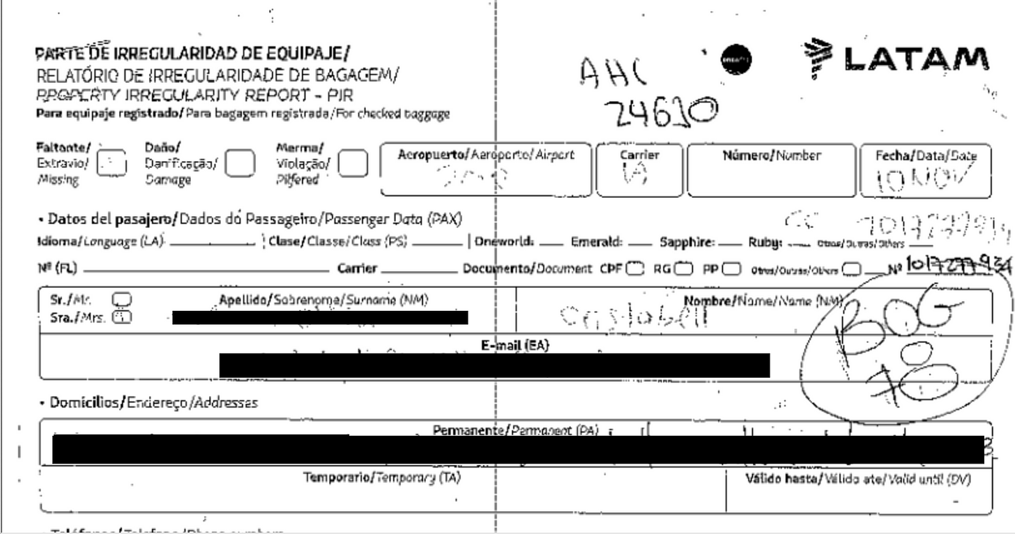 A black-and-white scan of a filled out form titled Property Irregularity Report for Bogota airport. The identifying details of the passenger are redacted.