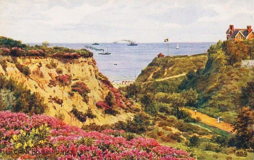The English Channel from Alum Chine. A. R. Quinton postcard circa 1910